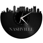 Nashville Decor Wall Art Tennessee Skyline Clock Original Vinyl Perfect Gift Idea for Men Women Home Living Room Bedroom Decor