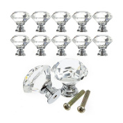 TorDen 10 PCS Crystal Glass 30mm Drawer Knob Pull Handle Usd for Caebinet, Drawer with 10 Screws