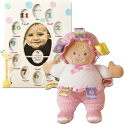 (Set) Child's First Year Collage Photo Frame & Pink Taggies Baby Doll Plush