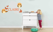Custom Name Owl and Butterfly - Baby Girl - Wall Decal Nursery For Home Bedroom Children
