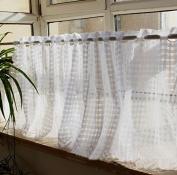 Classic White Plaid Pattern Polyester Lace Curtain Valances for Home Decor 150cm x 43cm