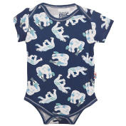 Baby Girls Blue White Polar Bear Print Snap Closure Short Sleeve Bodysuit 6-9M