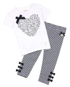 Le Chic Baby Girl's T-shirt and Striped Leggings Set, Sizes 12-24M