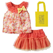 Little Lass Baby Girls' 2 Piece Chiffon Top & Skirt & Tote Gift Set