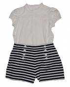 Ralph Lauren Polo Baby Girls Lace Trim Top & Nautical Shorts Set
