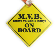 M.V.B. (Most Valuable Baby) On Board Travel Sign w/ Easy Grip Suction Cup