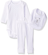Rene Rofe Baby 3 Piece Set with Longsleeve Lap Shoulder Bodysuit, Bib, and Turn-Me-Round Pant