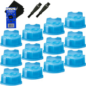 Braun Clean & Renew Refill Cartridges, Replacement Cleaner, Cleaning Solution (12 pack) for Series 3, Series 5, Series 7 & Series 9 + Double Ended Shaver Brush + HeroFiber Ultra Gentle Cleaning Cloth