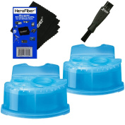 Braun Clean & Renew Refill Cartridges, Replacement Cleaner, Cleaning Solution (2 pack) for Series 3, Series 5, Series 7 & Series 9 + Double Ended Shaver Brush + HeroFiber Ultra Gentle Cleaning Cloth