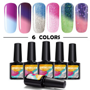 Modelones 6pcs Mood Gel Nail Polish Set,Soak Off UV Chameleon Colour Changing Nail Polish Kit