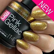 Pink Gellac UV gel nail polish 208 Glorious Gold. Professional Nail Polish For Atleast 14 Days! Perfect Shine