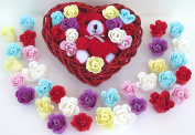 Rose Bath Bomb, 13 Colourful Charing Rose Flowers in a heart basket. 3go