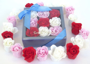 Rose Bath Bomb, Nine Colourful Charing Rose Flowers in a premium gift box. 3 Red+purple+3Pink,18