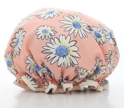Fashion Design Stylish Reusable Shower cap with Beautiful pattern and colour (Adult Size, Pink