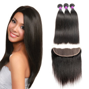 FeiBin 7A Brazilian Virgin Hair 3 Bundles With Lace Frontal Closure (13x 4) 100% Unprocessed Human Hair Extensions Straight Natural Colour