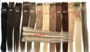 TRESSMATCH 50cm - 60cm Remy Human Hair Weft 18cm Wide (3 Clips) Black Brown Blonde Auburn Red [Weight:30grams35ml]