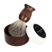 FTXJ Men's Face Care Set Shaving Brush+Natural Wood Mug Bowl+Hand Made Soap