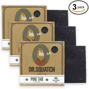 Dr. Squatch Pine Tar Soap 3-pack Bundle - Mens Bar with Natural Woodsy Scent and Skin Exfoliating Scrub - Handmade with Pine, Hemp, Olive Oils in USA