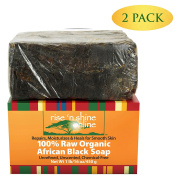 (2 Pack) Raw African Black Soap with Coconut Oil and Shea Butter - Body Wash, Shampoo and Face Wash - Helps Clear Dry Skin, Acne, Eczema, Psoriasis - Authentic Organic Homemade Soap Bar from Ghana