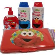 Sesame street bath bundle-4 items:2 body wash, hand soap wipes case