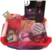 Deluxe Valentine's Day Sassy n' Sweet Gift Set Basket Massager Candle Lotion Porcelain Ornament Key to My Heart