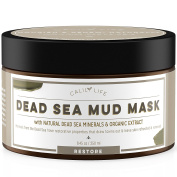 CalilyLife Organic Dead Sea Mud Mask, 250ml - Organic Deep Skin Cleanser – Face and Body Treatment – Eliminates Acne, Wrinkles, Cellulite - Cleanses Pores, Rejuvenates Skin for Youthful Glow