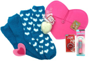Maybelline Baby Lips Balm Sprinkled Pink and Blue Fuzzy Socks, Coca Cola Lip Smacker, Heart Shaped Soap and Pink Felt Heart Envelope