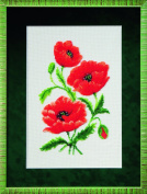 Embroidery Beadwork kit Charivna mit #B-068 Lovely flowers Symbol of Ukraine Red poppy 20x30 cm / 7.87x11.81 in