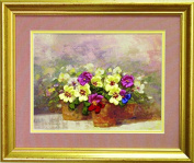 Ribbon embroidery kit Charivna mit #L-003 Pansy Flowers Spring 26x20 cm / 10.24x7.87 in