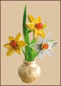 Quilting kit Charivna mit #КВ-016 Narcissi Flowers Spring 13x19 cm / 5.12x7.48 in