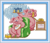 CaptainCrafts New Cross Stitch Kits Patterns Embroidery Kit - Pig Dad And Mom