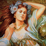 "Needlepoint Kit ""Spring nymph"" 17.7""x17.7"" 45x45cm. printed canvas 656"