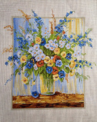"Needlepoint Kit ""Flowers"" 19.7""x15.7"" (50x40cm.) printed canvas 490"