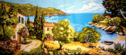 "Needlepoint Kit ""Sea landscape"" 28.7""x12.6"" (73x32cm.) printed canvas 130"