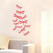 HN 12pcs 3D DIY Decor Dragonfly Home Party Wall Stickers PVC Art Decal Feature