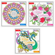 Colour Therapy Adult Colouring Books, Colour Therapy Designs 3 Different Books Included Floral Animals & Patterns 2Nd Edition 6846 Set
