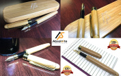 100% Handcrafted & Eco-friendly Bamboo Fountain Pen With Stunning Case - Luxury and Elegant Gold Plated NIB With Ink Refill Converter - Great For Executive Signatures, Calligraphy & Vintage Writing