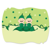 Twins Two Peas in a Pod - Squiggle Baby Shower or Birthday Party Sticker Labels
