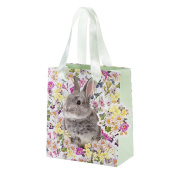 Talking Tables Truly Bunny Medium Floral Rabbit Gift Bag with Ribbon Handles and Tag for an Easter Celebration or Children's Party