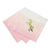 Talking Tables We Heart Unicorns 25cm Pink Ombre Cocktail Napkins with Foil Detail for a Children's Party or Birthday Party, Pink/Gold