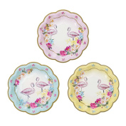 Talking Tables Truly Flamingo 18cm Floral Flamingo Paper Plates in 3 Designs for a Birthday or Flamingo Party, Blue/Pink/Yellow