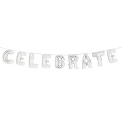 Talking Tables Modern Romance Silver Foil Large Balloons 'Celebrate' Banner Décor for a Birthday Party or Wedding, Silver Foil