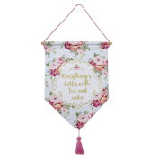 Talking Tables Truly Scrumptious Vintage Floral Fabric Hanging Décor for a Tea Party, Blue/Pink