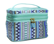 Modella Indigo Hues Collection Cosmetic Fitted Double-Zip Train Case