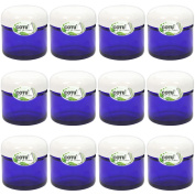12 x 60ml New & Empty DIY Cobalt Blue Jars with White Dome Liner Lids by COTU (R)