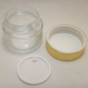 100 ml Clear Glass Makeup Cream Jar w Shiny Gold Aluminium Plastic Lid