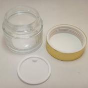 100 ml Clear Glass Makeup Cream Jar w Shiny Gold Aluminium Plastic Lid