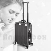 Baisidai 50cm / 60cm Luxury Stripe Durable Aluminium Alloy Spinner Travel Suitcase Luggage