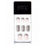 Dashing Diva Magic Press #118 Glitter French Silver Full Cover Gel Nail Tips, Easy to attach without Glue