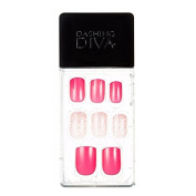 Dashing Diva Magic Press #G12 Hot Pink Sand Full Cover Gel Nail Tips, Easy to attach without Glue (Asian Type, Disposable) MPGS12